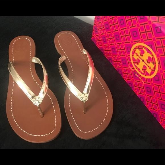 9f3dccd8b57b99 ❤ 💕Tory Burch Terra Thong Spark Gold Sandal